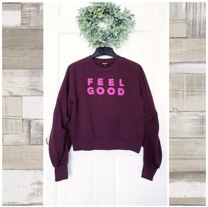 "Express | ""Feel Good"" Cozy Balloon Sleeve Sweater"